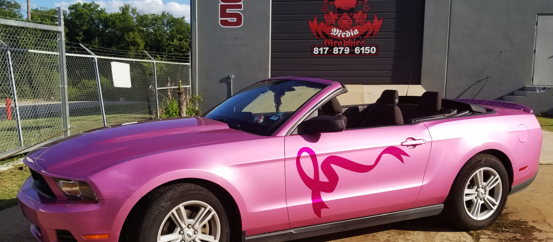 Pink mustang with breast cancer awareness ribbon MMG