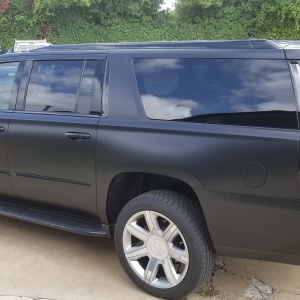 Satin Black Color Change with Gloss Black Chrome Delete on Cadillac Escalade