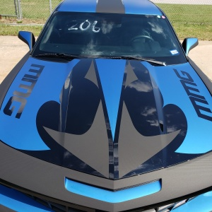 Mobile Media Graphics 3M Matte Metallic Blue and Matrix carbon fiber graphics package on Camaro