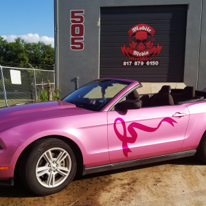 Pink Vehicle Wrap on Ford Mustang